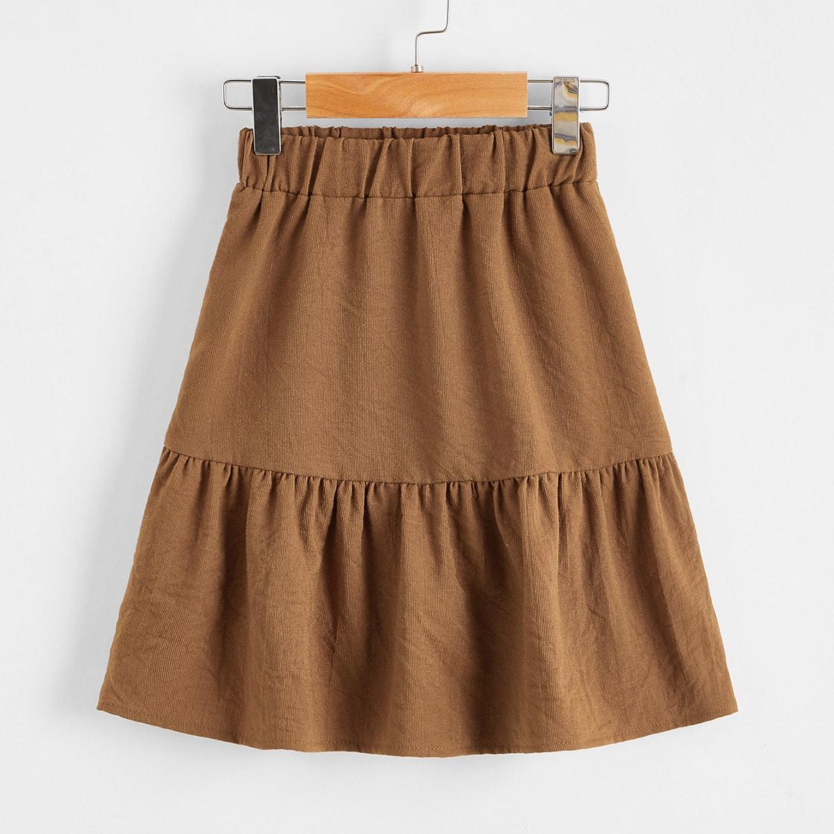 С оборками одноцветный повседневный юбки для девочек