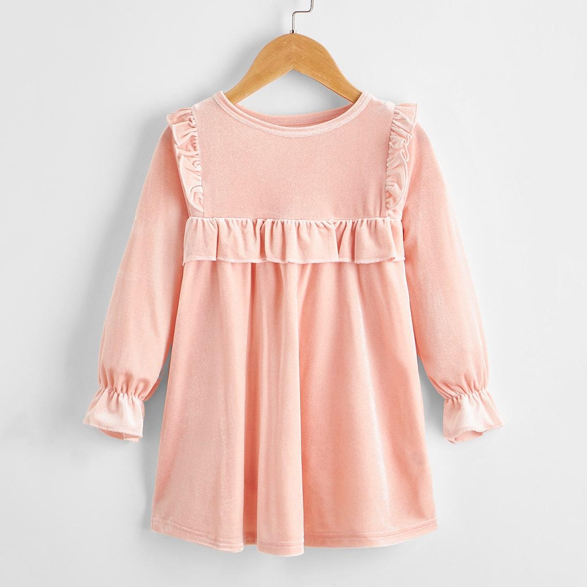 С оборками одноцветный милый платья для девочек
