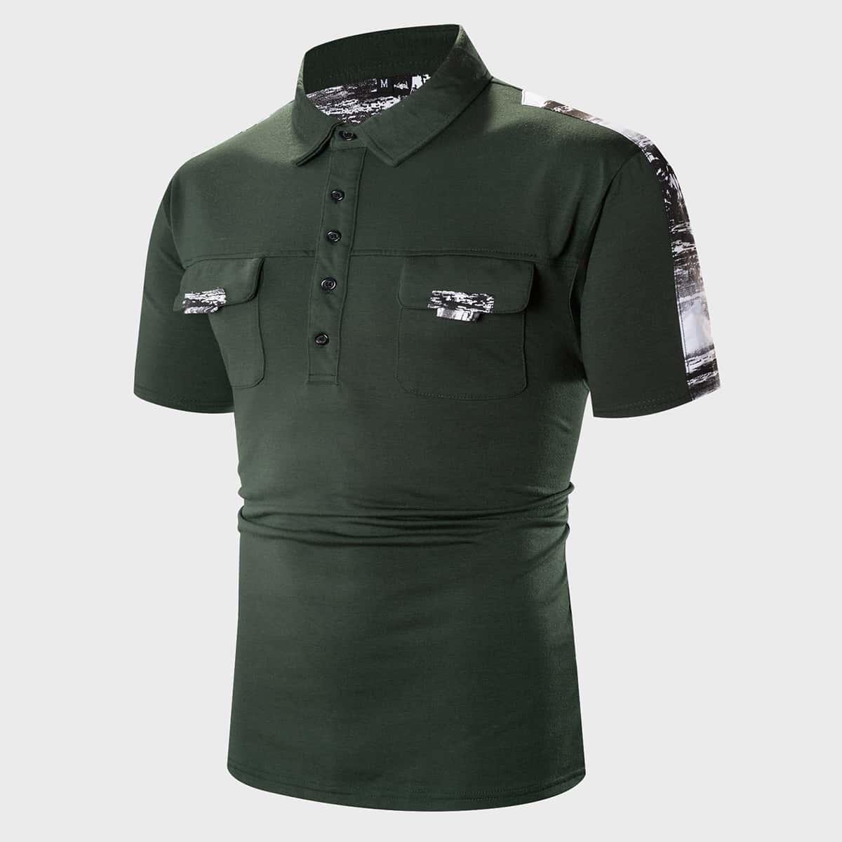 Карман контрастный цвет повседневный мужская рубашка-поло