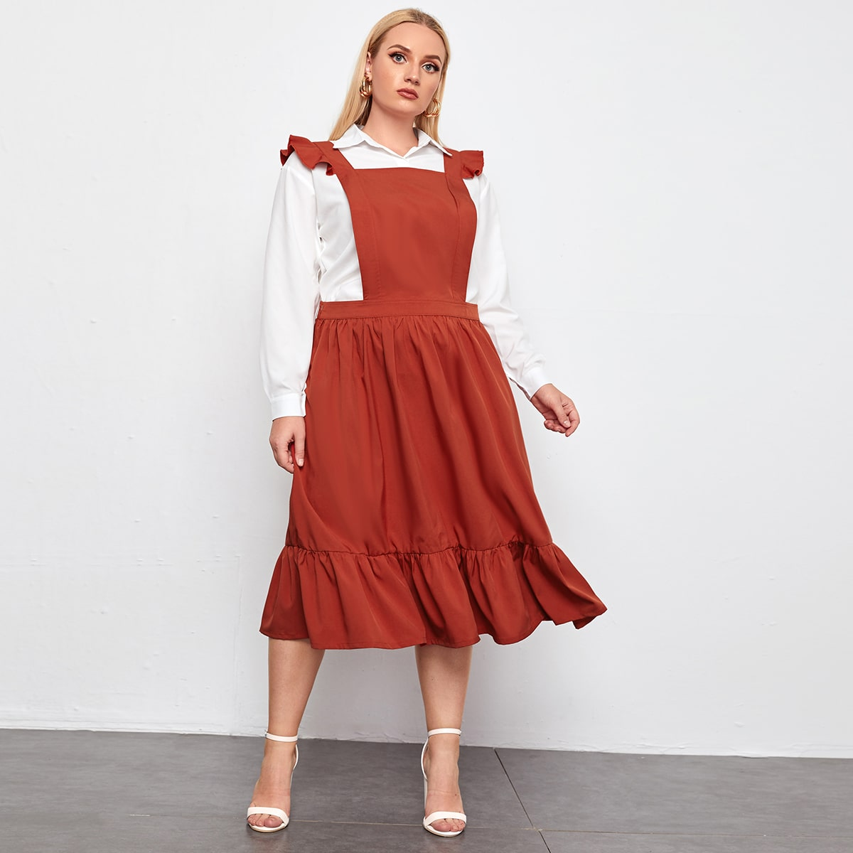 С оборками Одноцветный милый Платья размер плюс