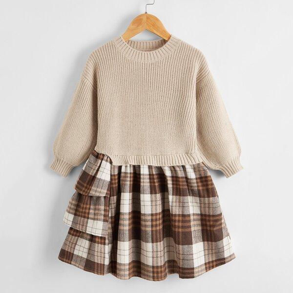 Toddler Girls Contrast Plaid Ruffle Hem Sweater Dress, Multicolor