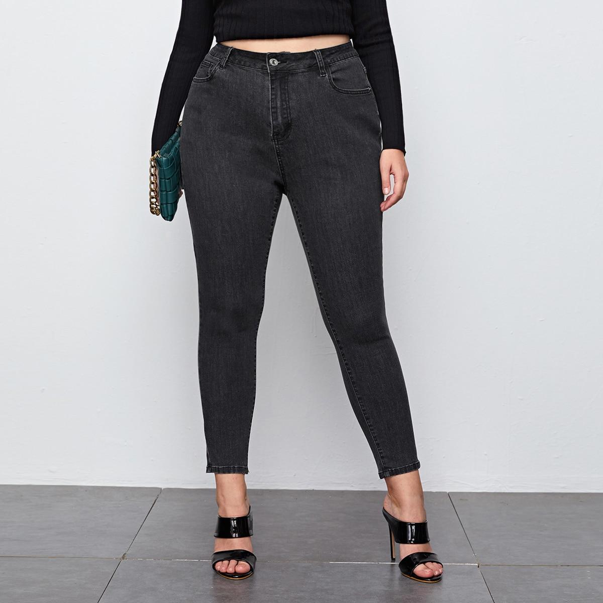 На пуговицах одноцветный джинсы размер плюс