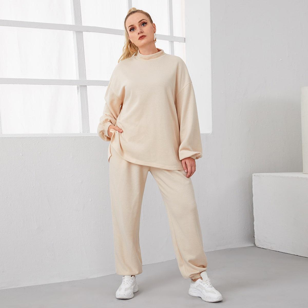 Plus Mock-Neck Split Dip Hem Top & Pants Set, SHEIN  - buy with discount