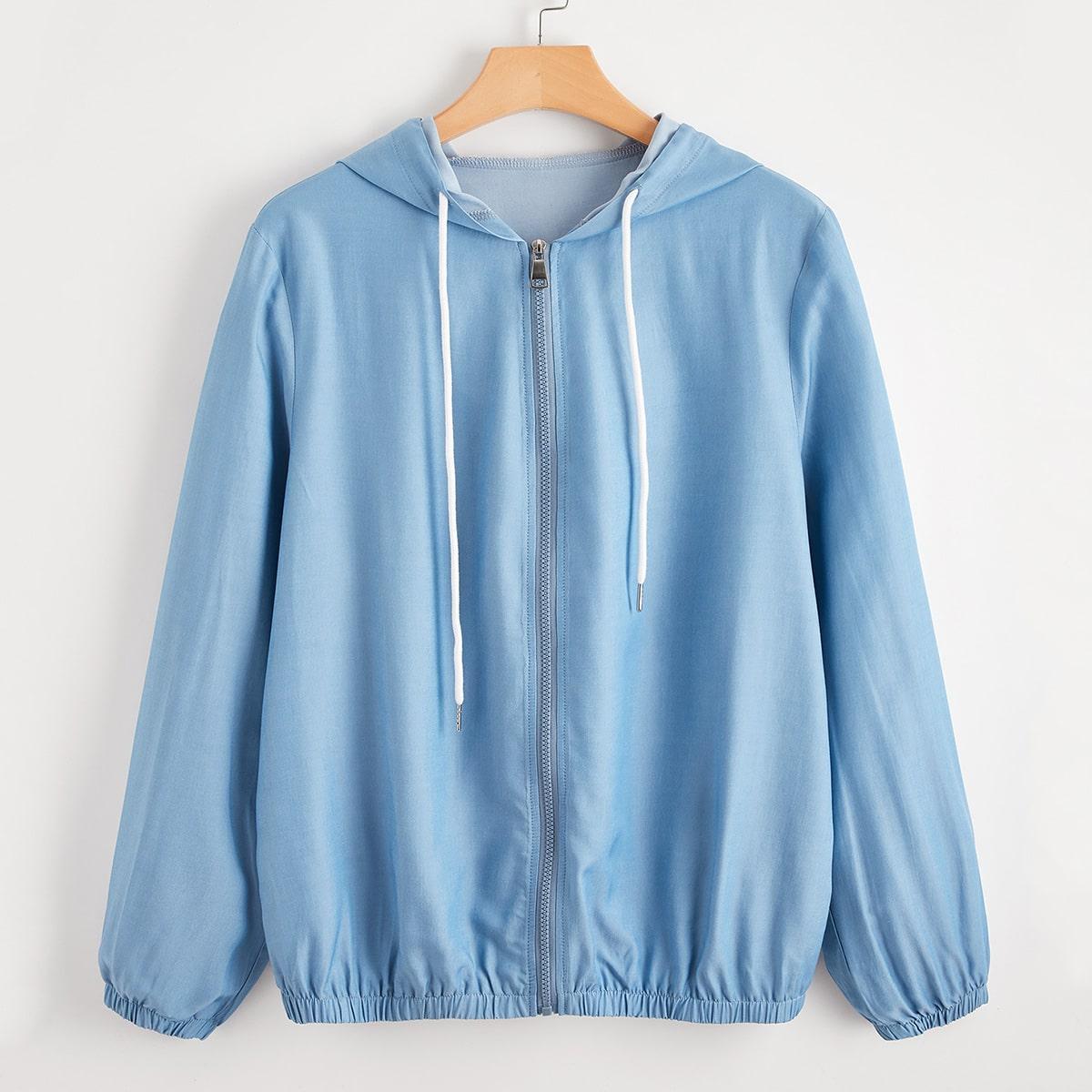 На молнии одноцветный повседневный джинсовая куртка размера плюс