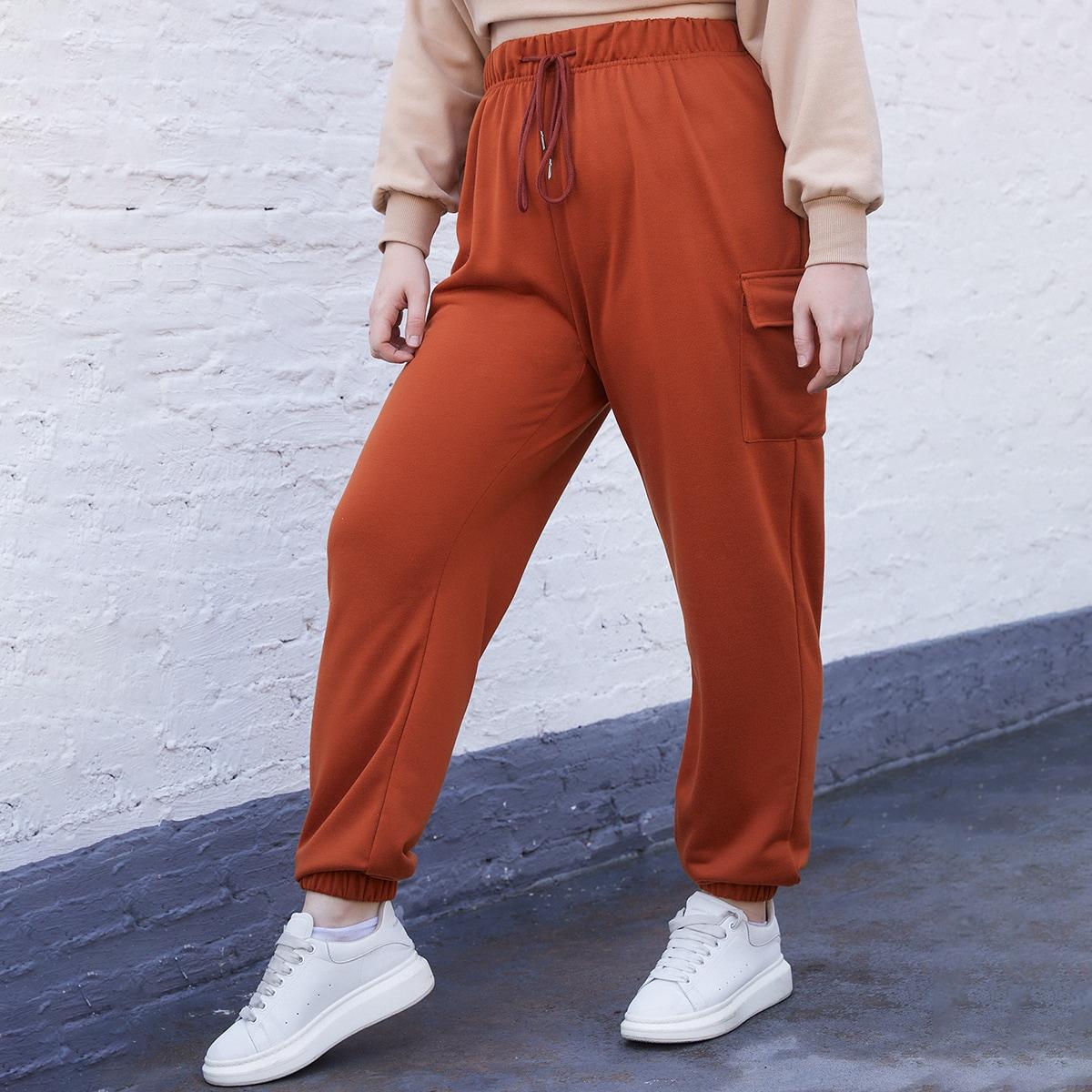 На кулиске одноцветный повседневный брюки размер плюс