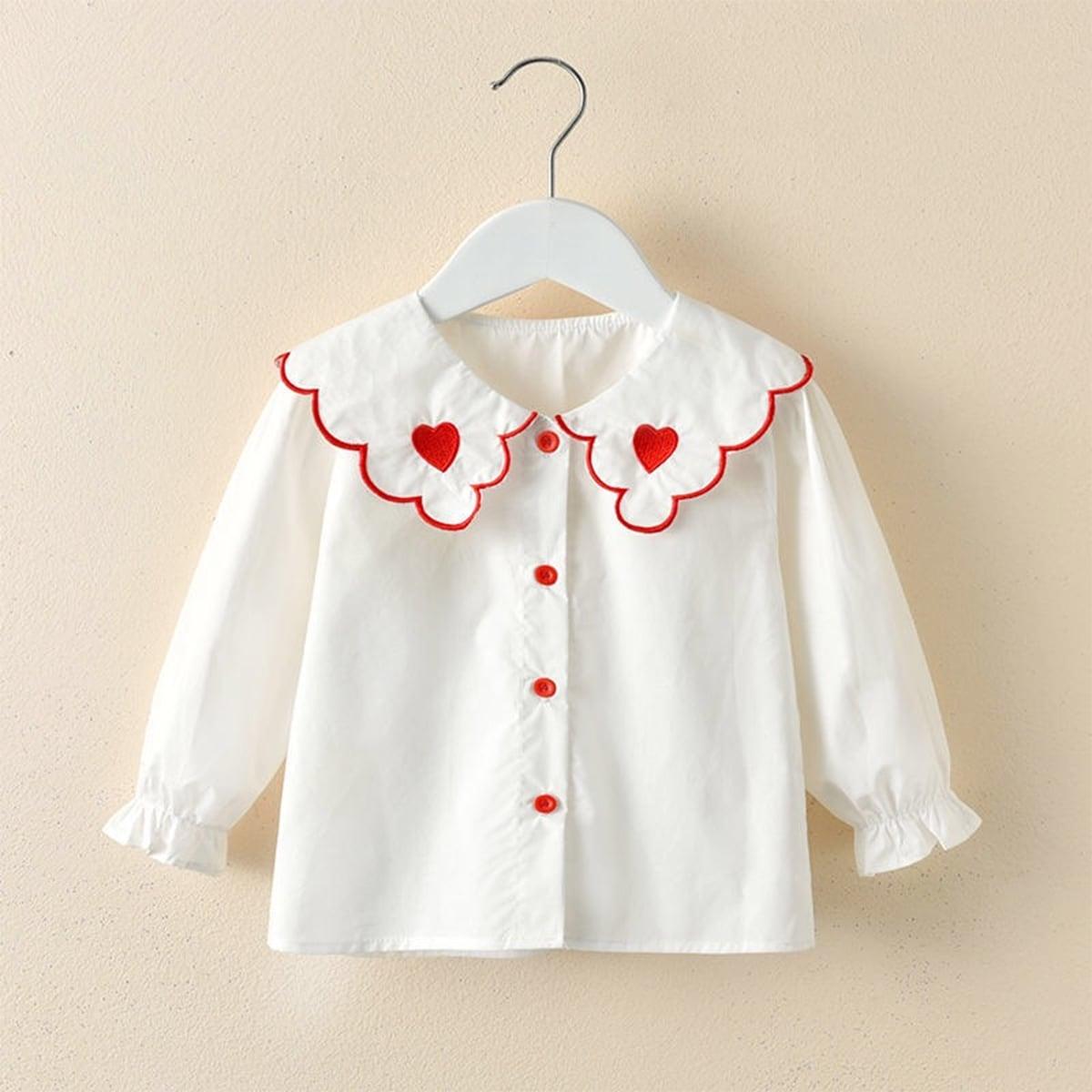 С вышивкой сердечко милый блузы для девочек