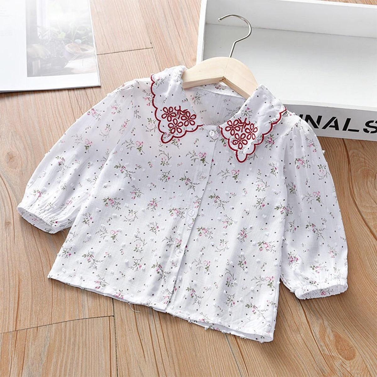 С вышивкой цветочный милый блузы для девочек