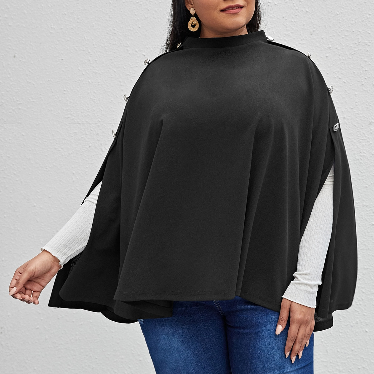 на пуговицах Одноцветный Элегантный Плюс размеры пальто