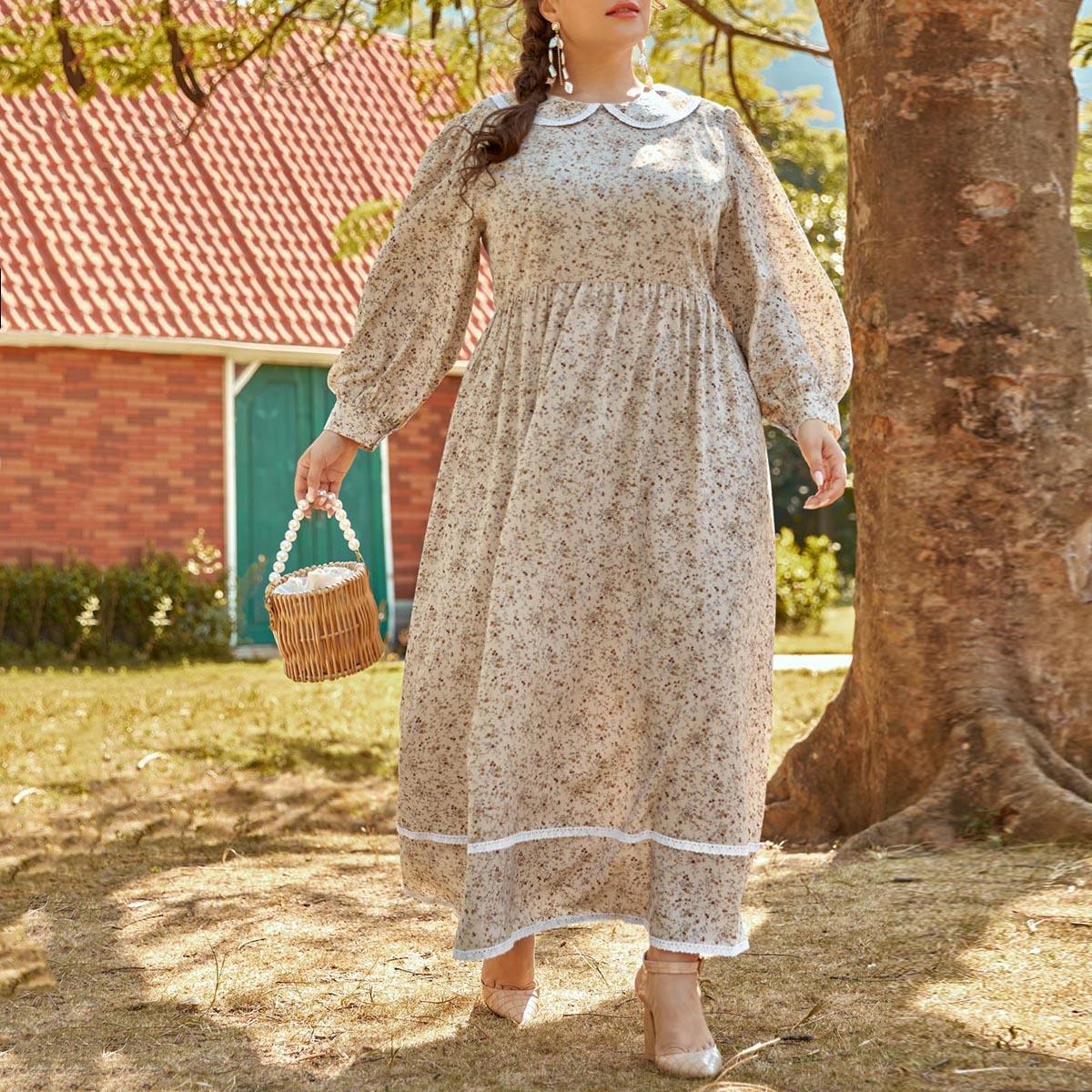 Контрастные кружева цветочный Элегантный Платья размер плюс