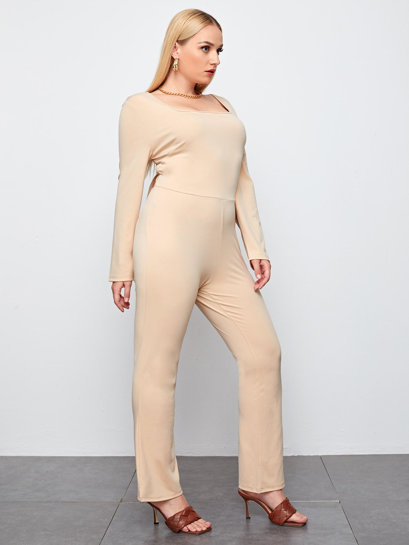 Plus Solid Square Neck Tie Back Backless Tee Jumpsuit