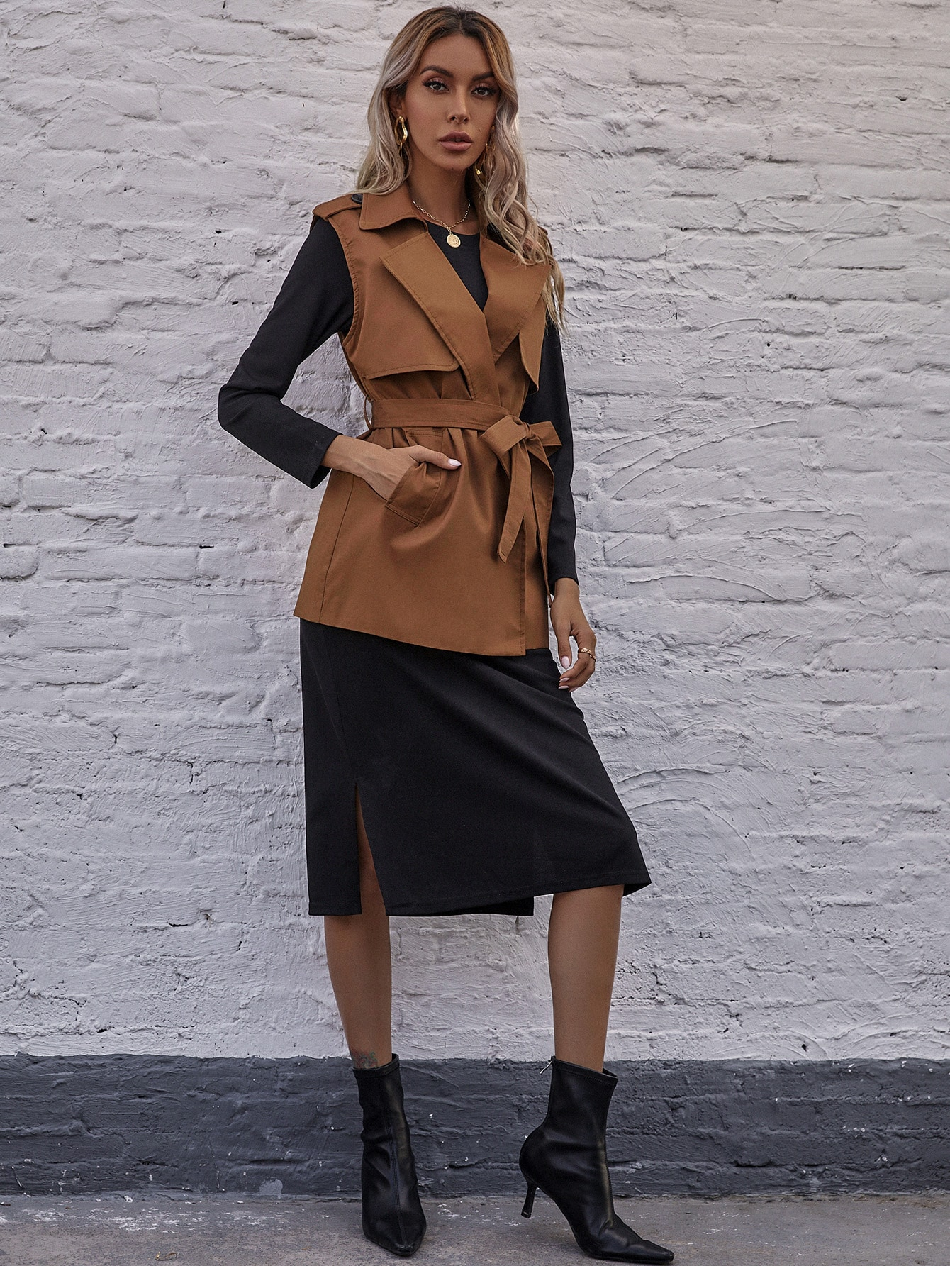 Belted Vest Coat & Split Side Dress thumbnail