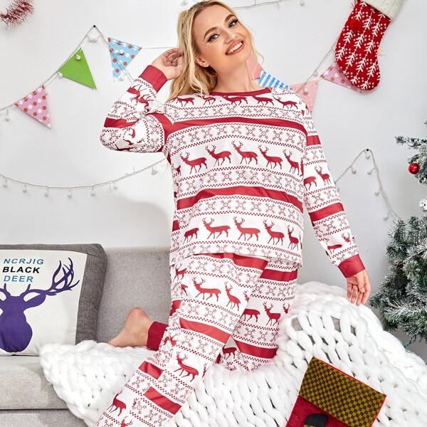 Plus Christmas Deer Print Pajama Set, Red and white