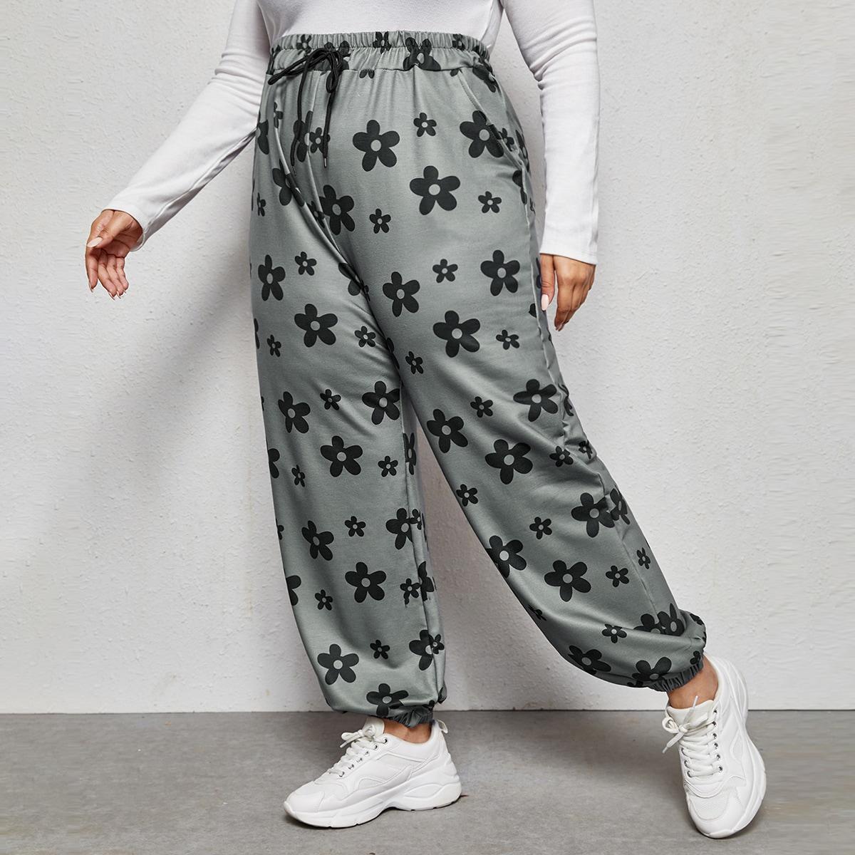 Карман цветочный повседневный брюки размер плюс