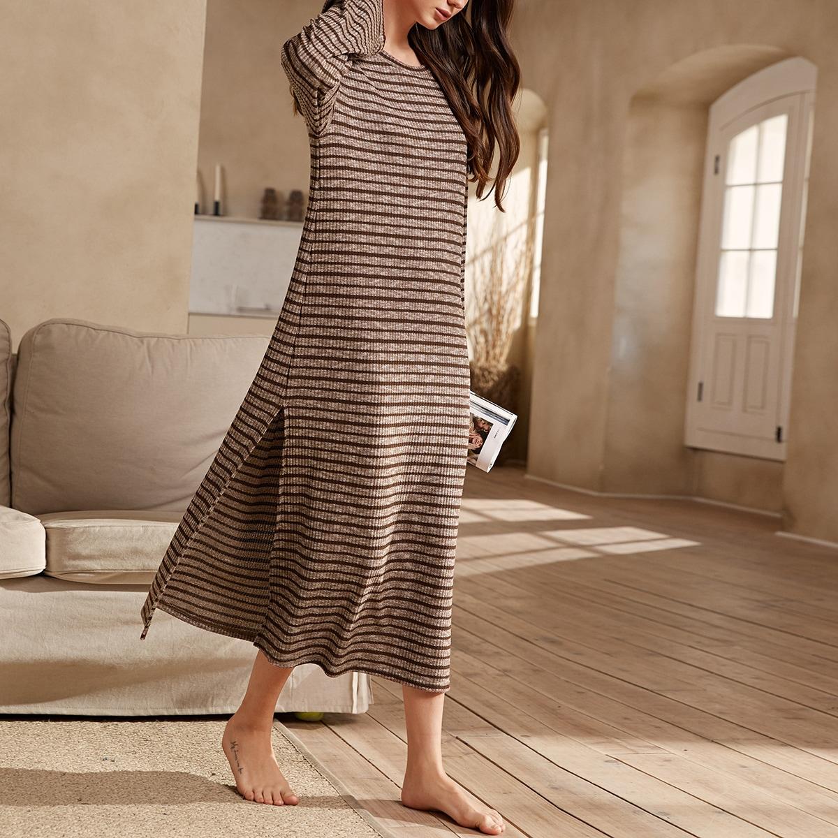 Высокий разрез полосатый повседневный домашнее платье