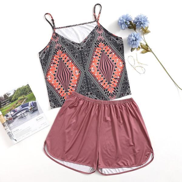 Plus Geo Print Cami Top With Shorts Pajama Set, Multicolor