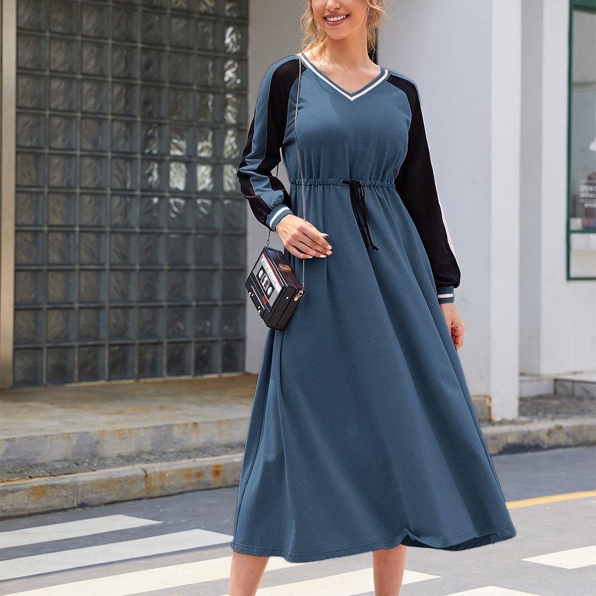 Платье-свитшот на кулиске с контрастным рукавом реглан