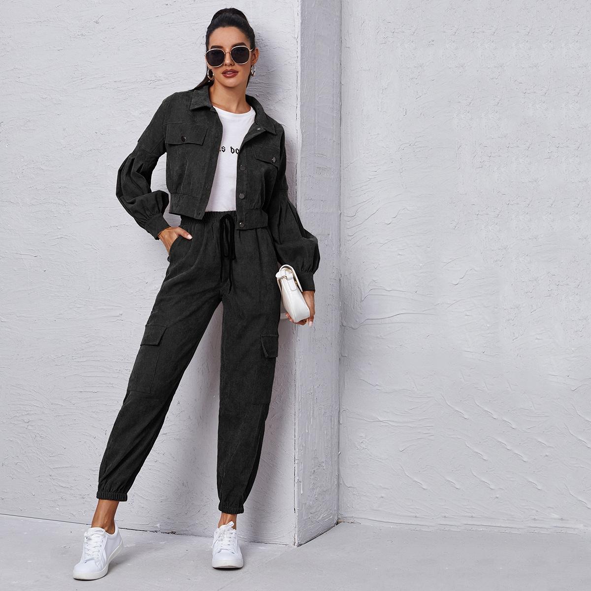 Вельветовая куртка и брюки карго с узлом SheIn swtwop23201021791