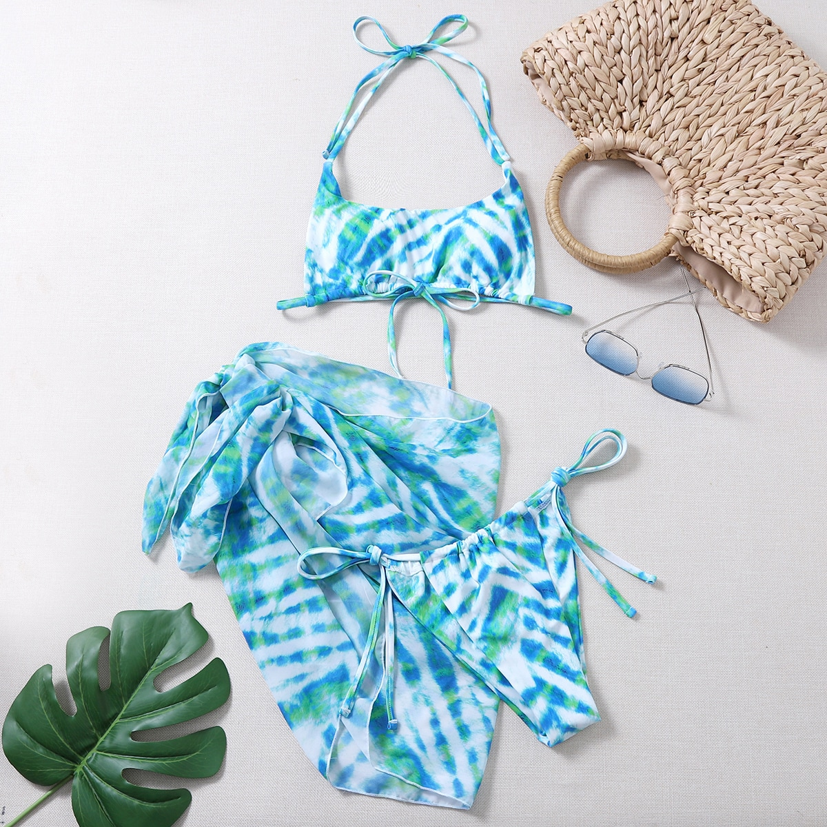 SHEIN / 3pack Tie Dye Halter Bikini Swimsuit & Beach Skirt