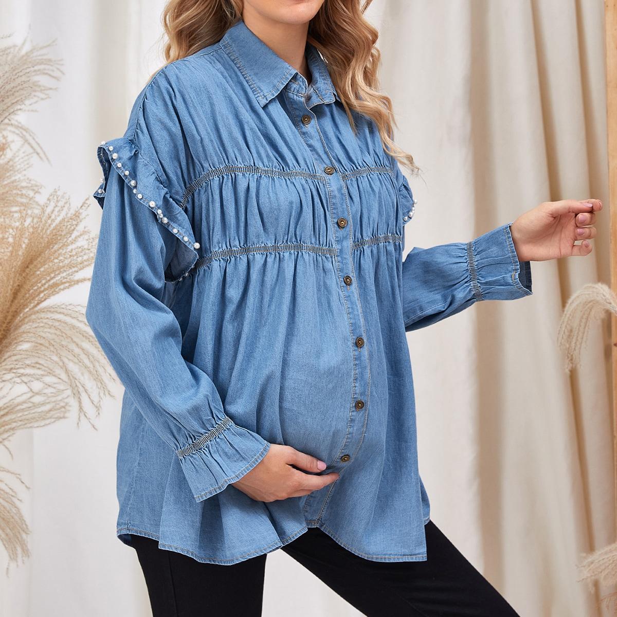 Жемчужина ровный цвет повседневный джинсовая одежда для беременных