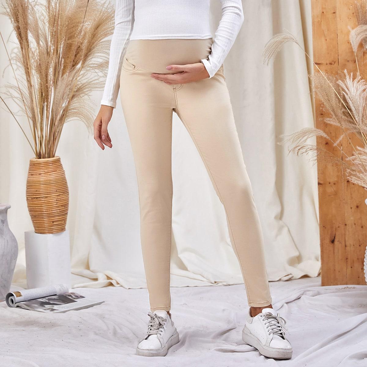 Карман ровный цвет джинсовая одежда для беременных