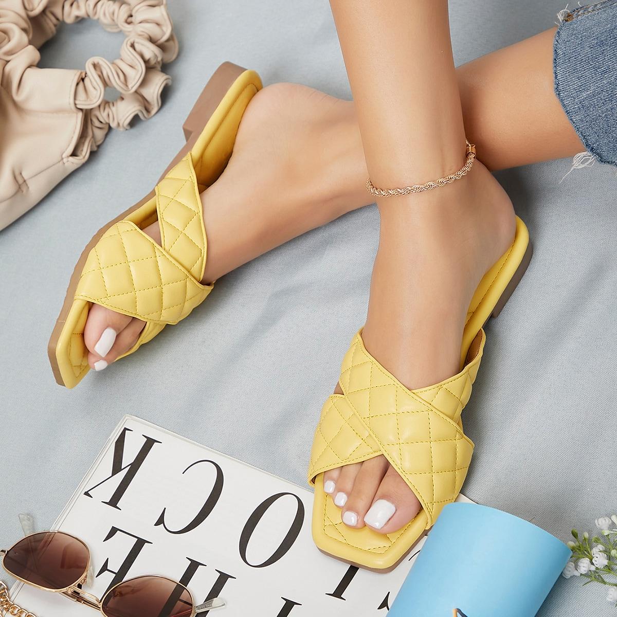 Сандалии из искусственной кожи с квадратным носком