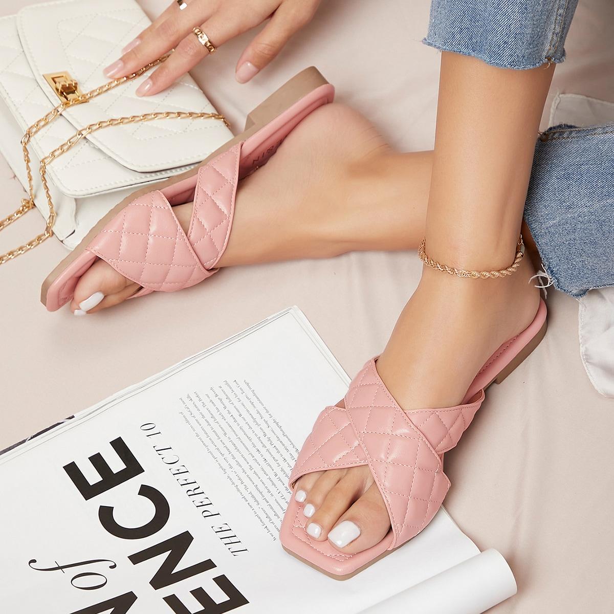 SHEIN / Faux Leather Puffy Crisscross Strap Slipper Sandals