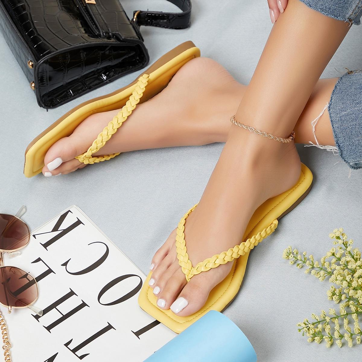Плетеные сандалии с квадратным носком