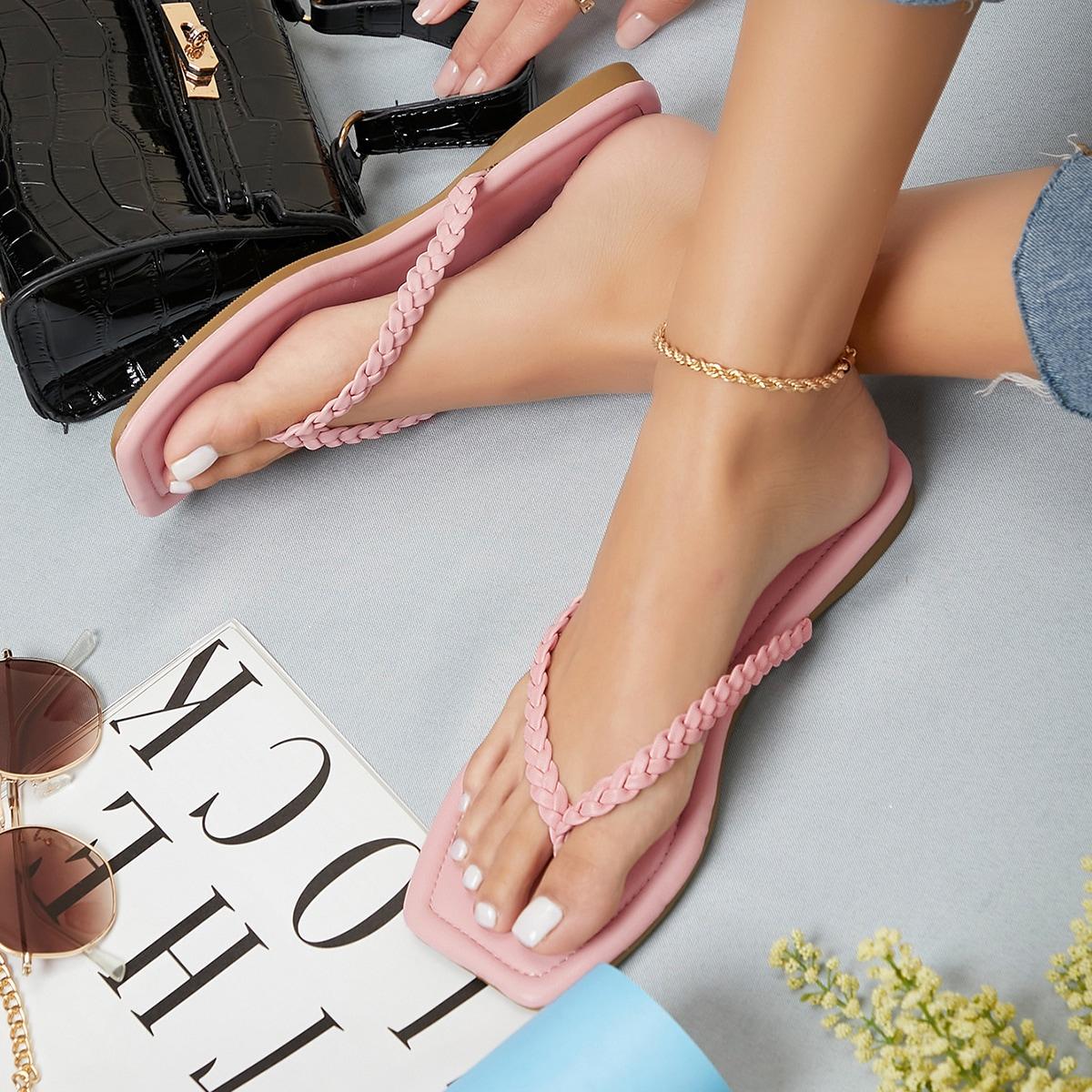 Плетеные сандалии из искусственной кожи с квадратным носком