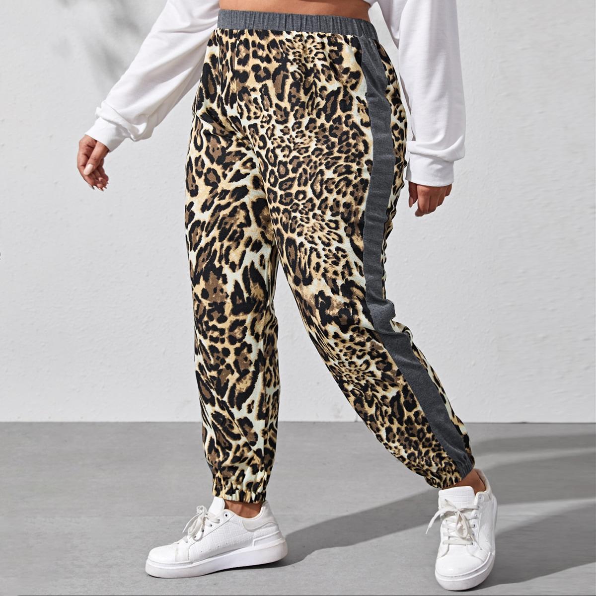 Боковая полоса леопардовый повседневный брюки размер плюс