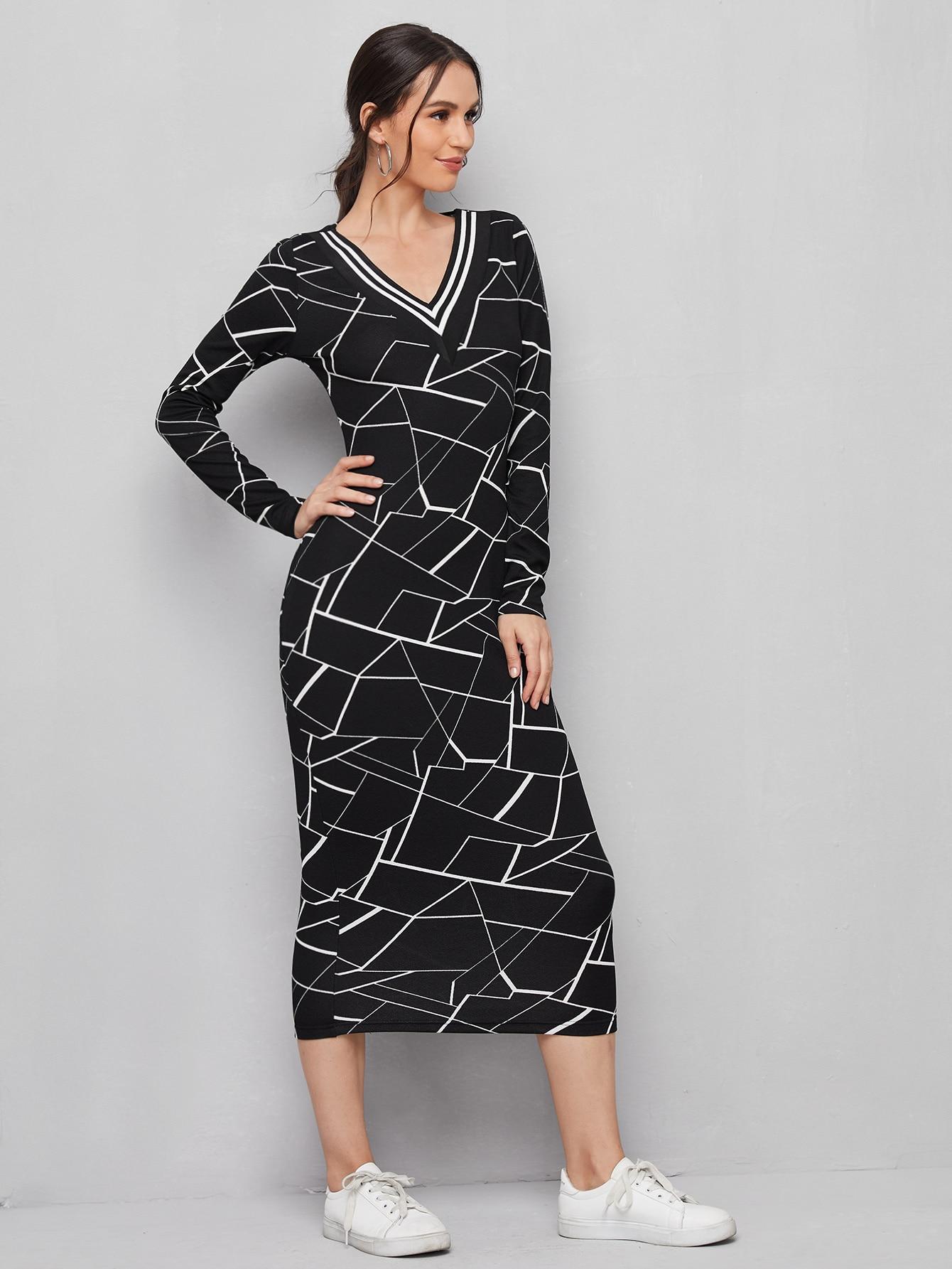 Striped Trim Geo Dress thumbnail