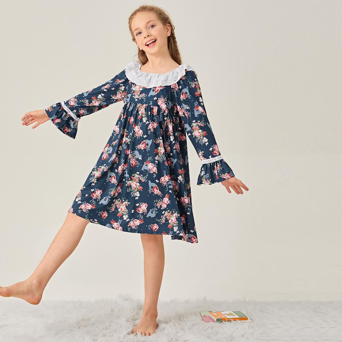 С оборками цветочный принт милый домашняя одежда для девочек