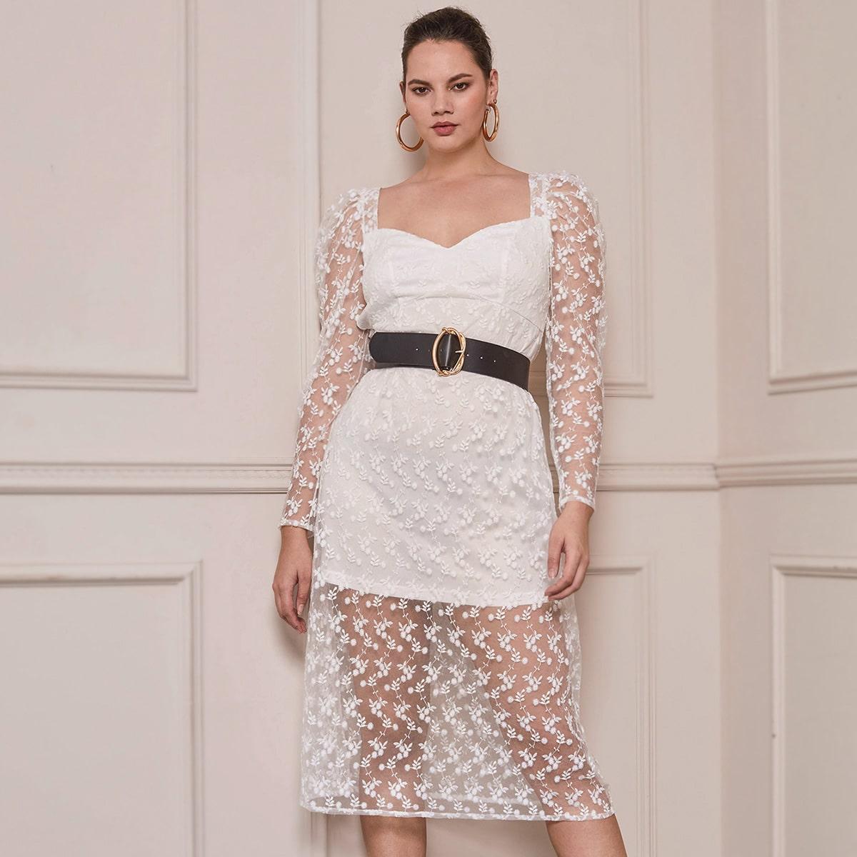 Вышивка Цветочный Элегантный Платья размер плюс