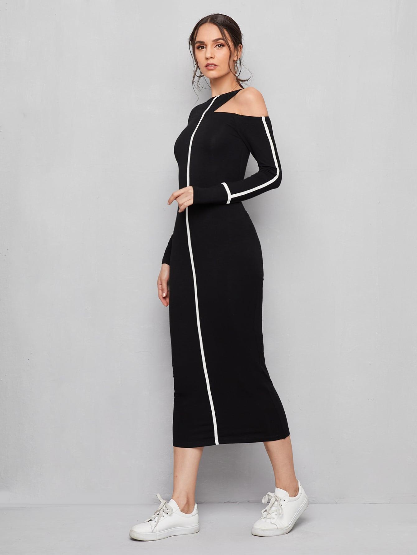 Asymmetrical Neck Contrast Binding Dress thumbnail