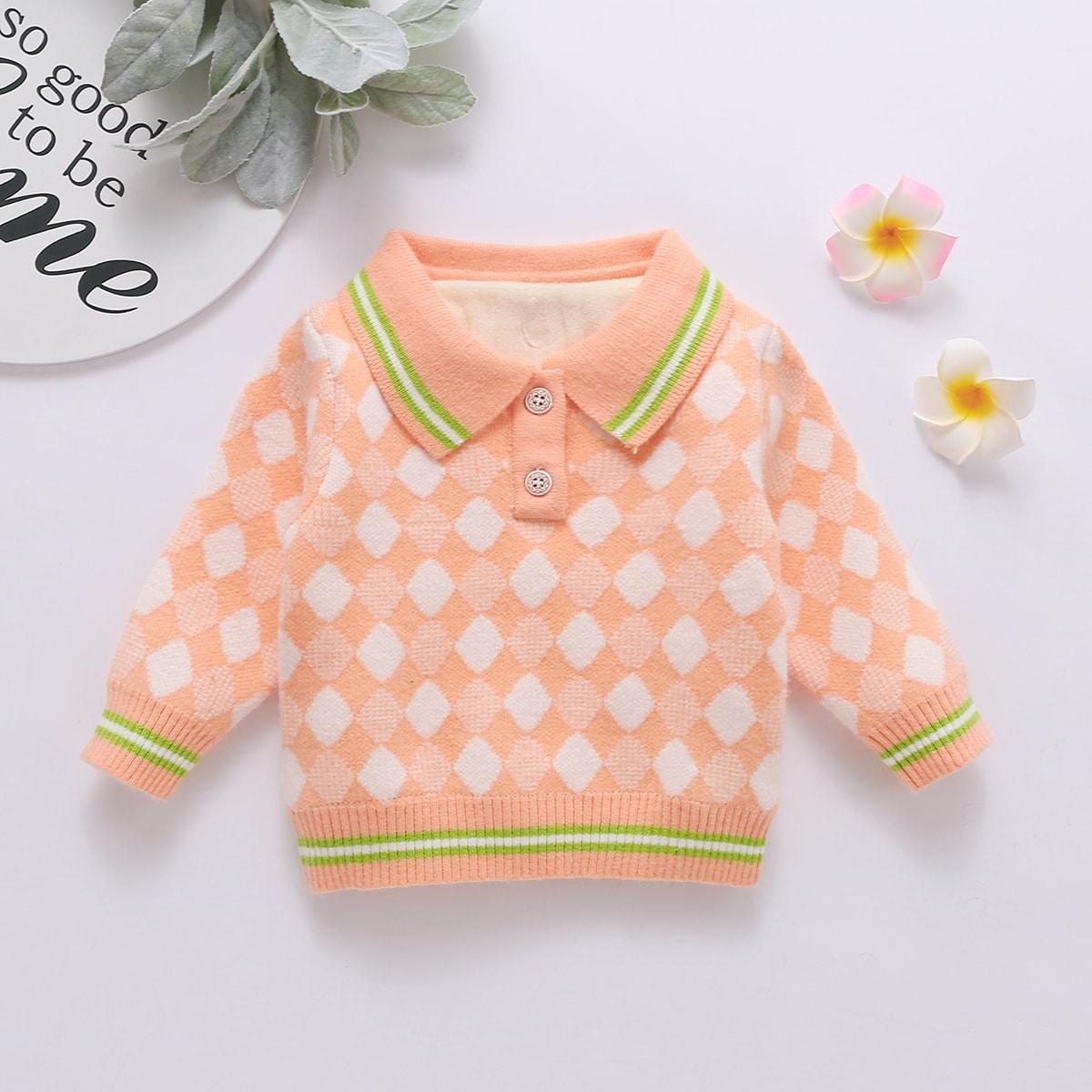 Пуговица полосатый милый свитеры  для малышей