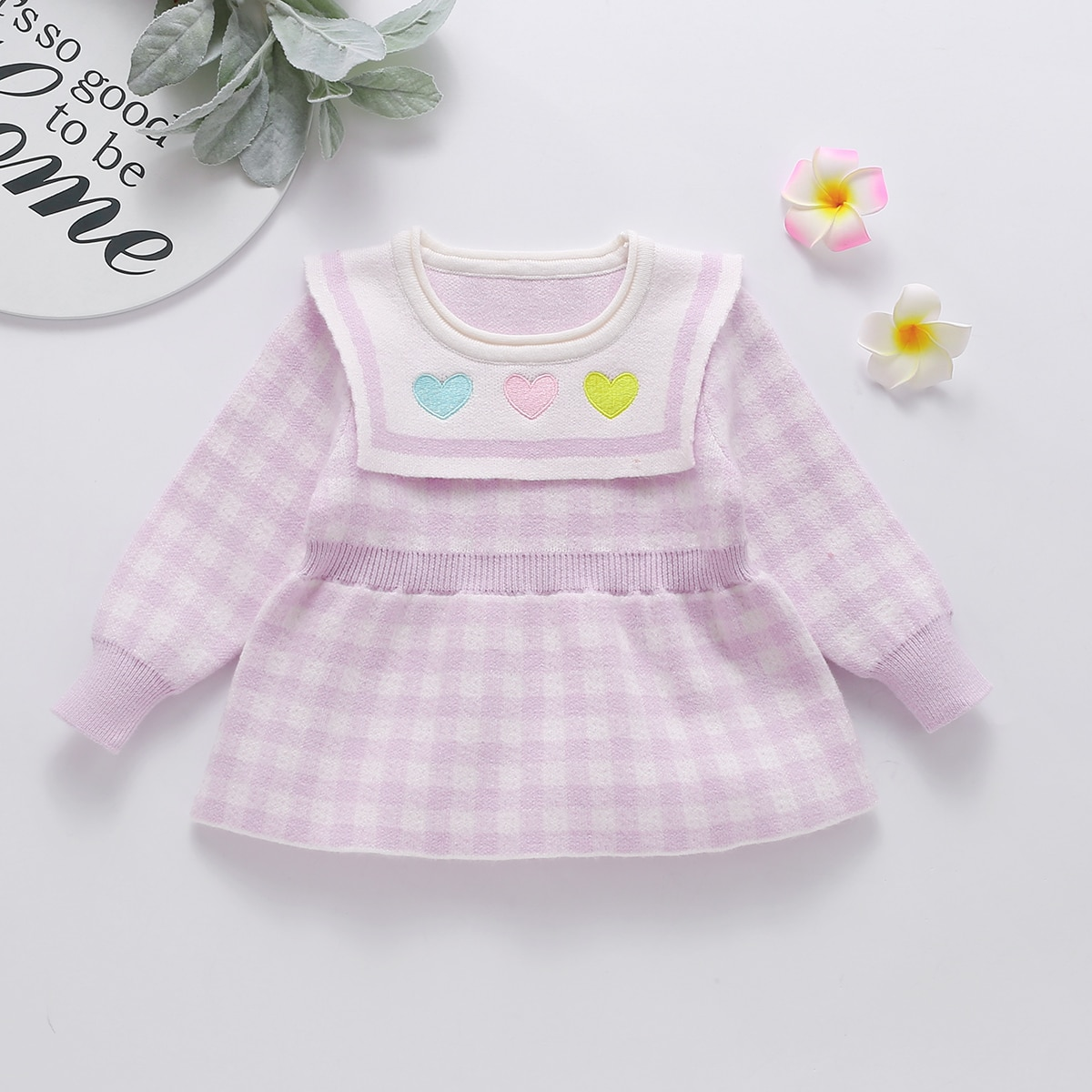 С вышивкой клетка милый трикотажные платья для девочек
