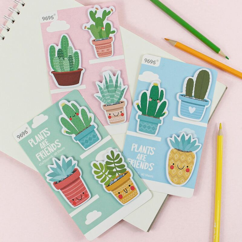 1pack Plants Shaped Random Sticky Note, Multicolor