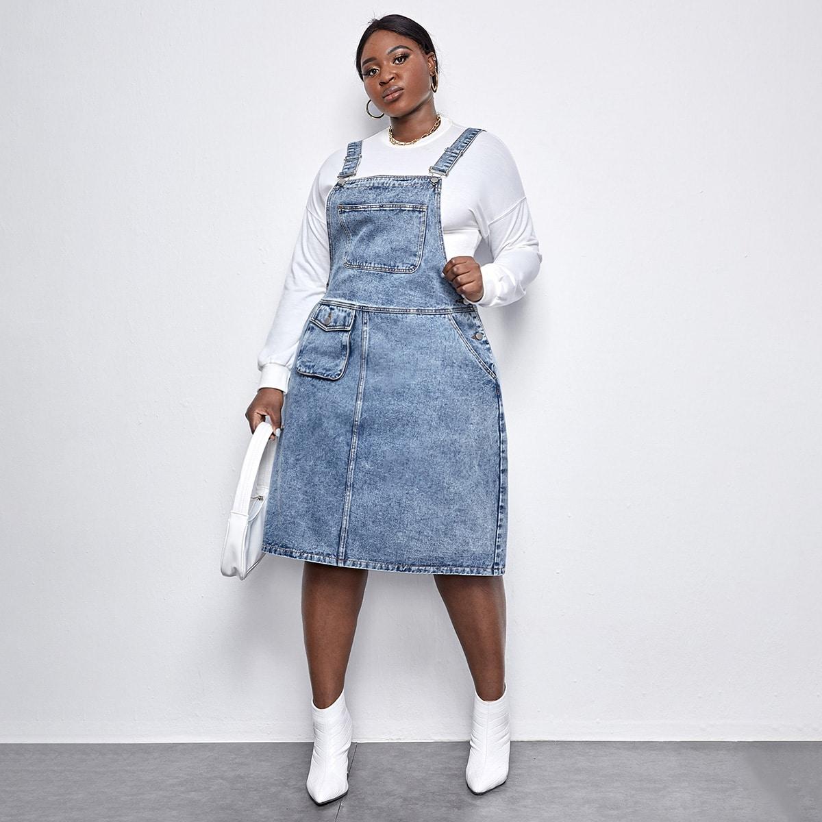 На пуговицах одноцветный институтский джинсовые платья размер плюс