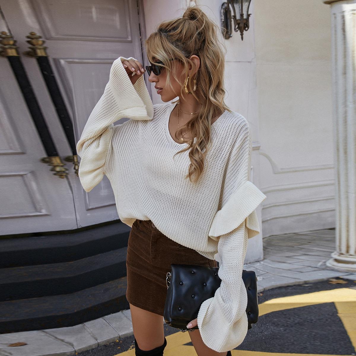 Bell Sleeve Drop Shoulder Sweater