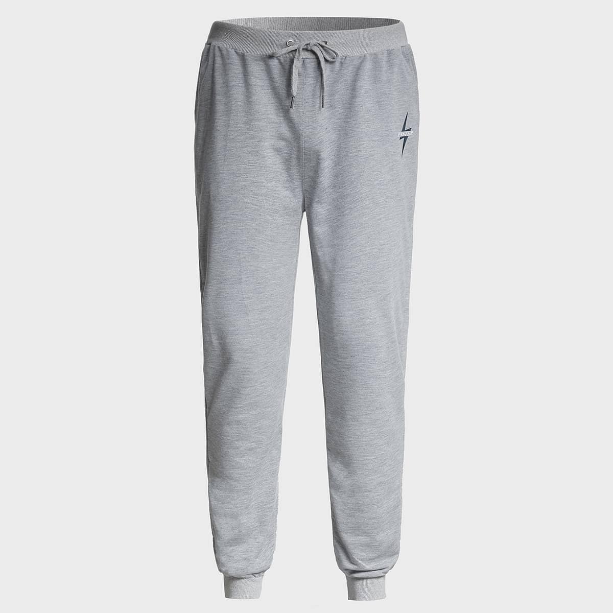 Мужские спортивные брюки с завязками на талии и узором алфавита
