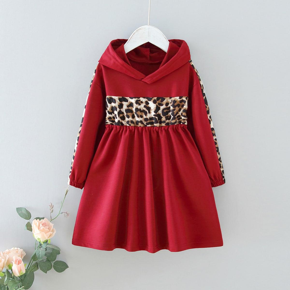 Toddler Girls Leopard Panel Hoodie Dress