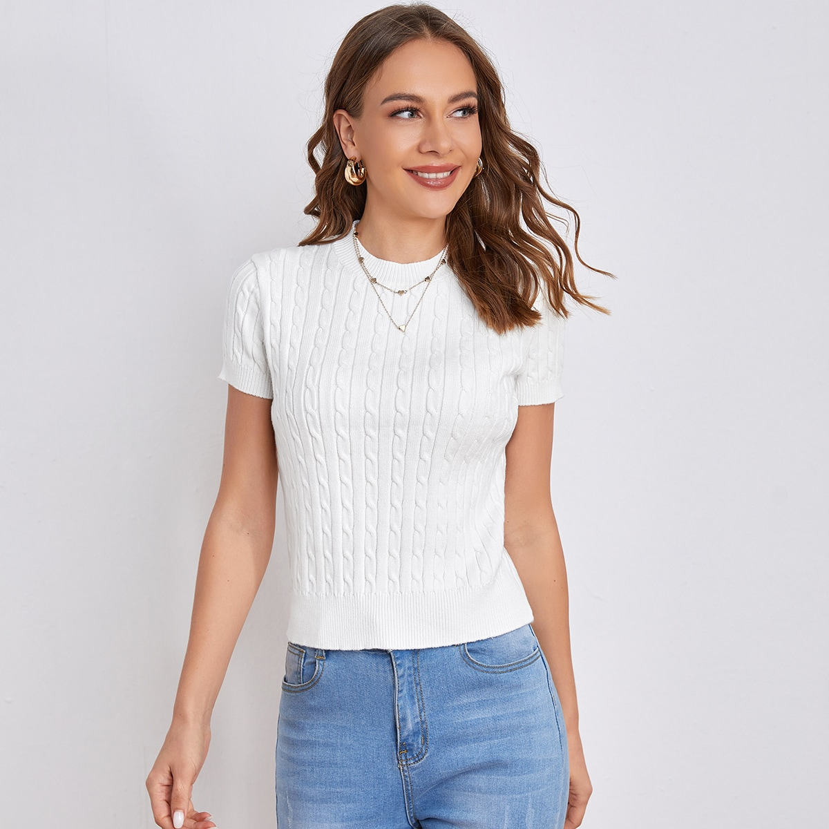 Round Neck Solid Cable Knit Top