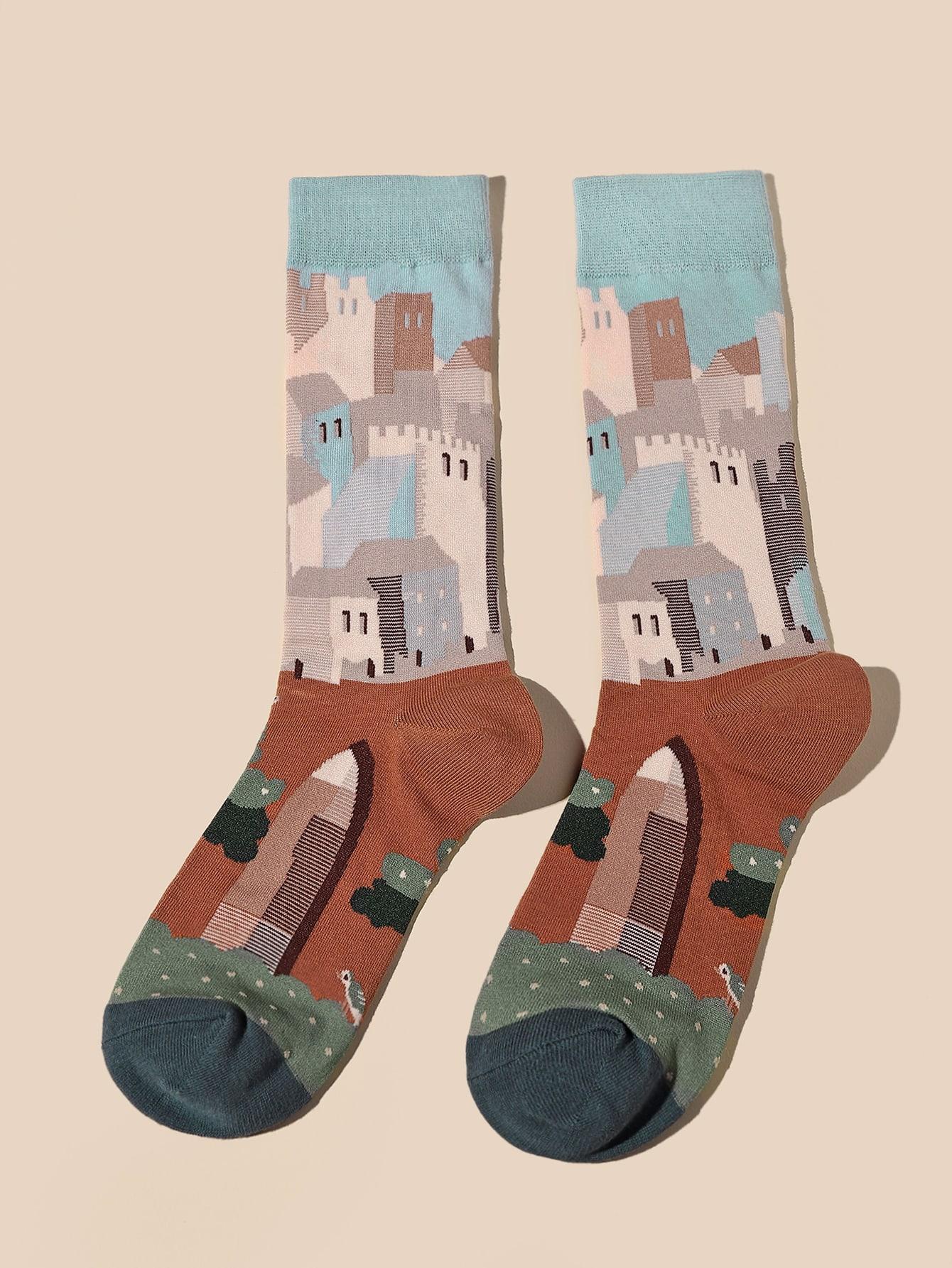 House Pattern Crew Socks thumbnail