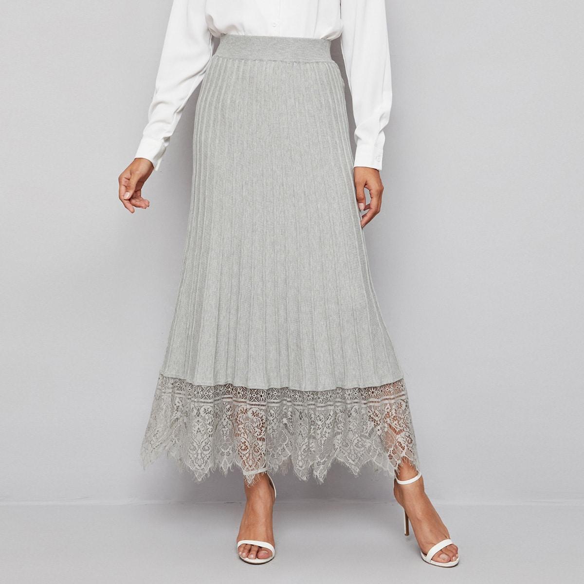 Контрастные кружева одноцветный элегантный вязаные юбки