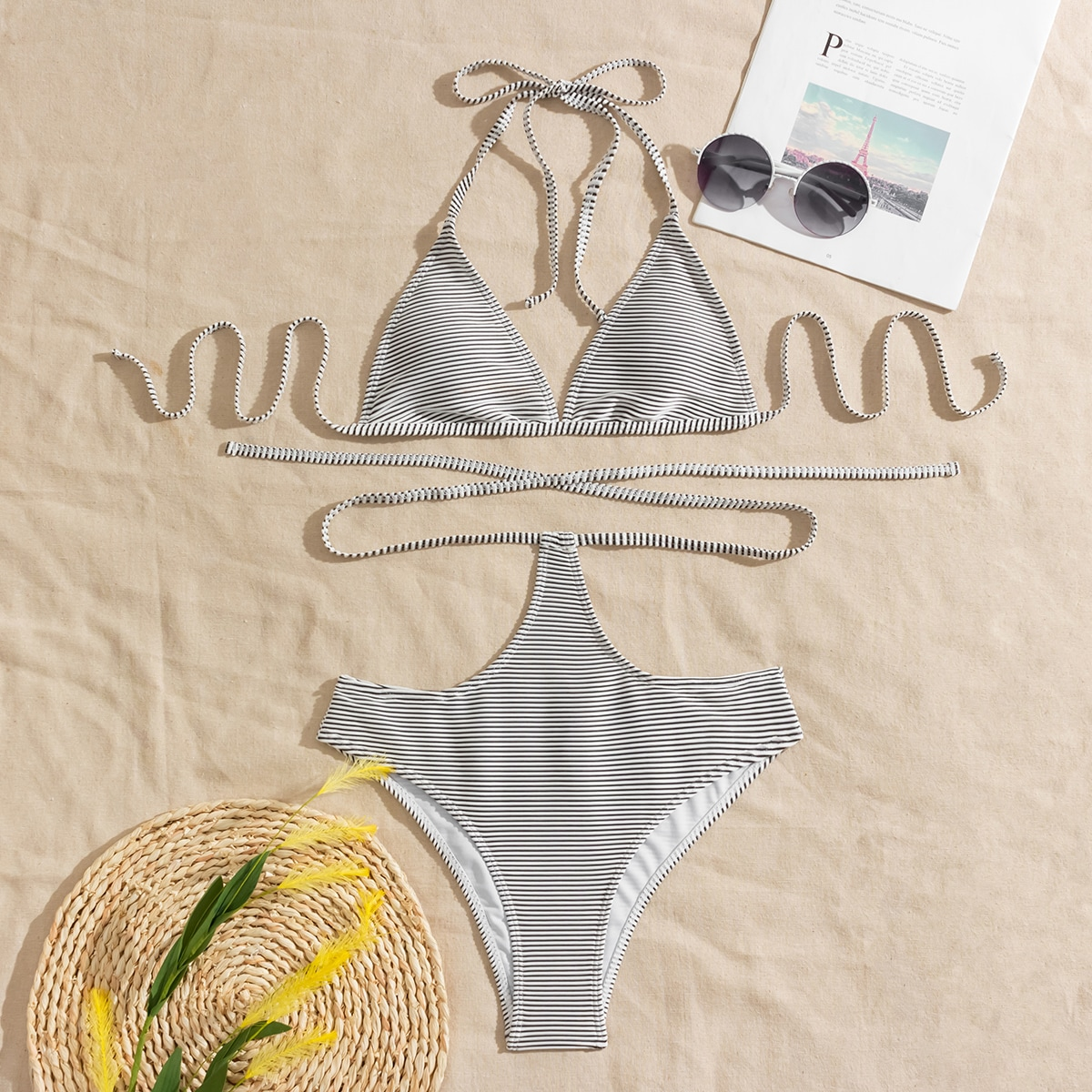 SHEIN / Striped Triangle Halter Bikini Swimsuit