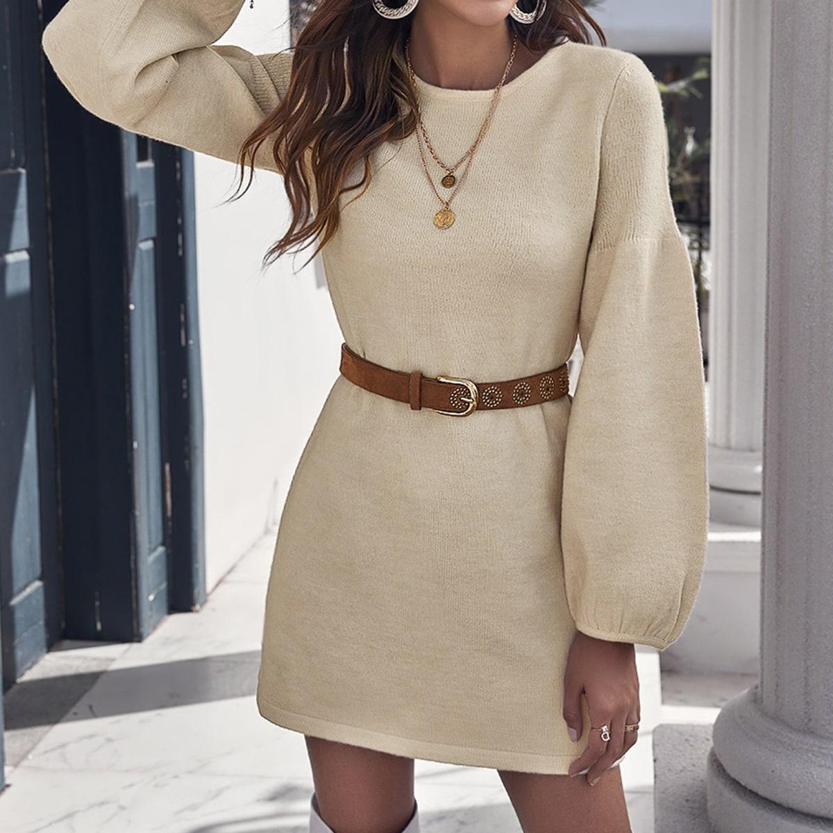 Drop Shoulder Lantern Sleeve Solid Sweater Dress Without Belt