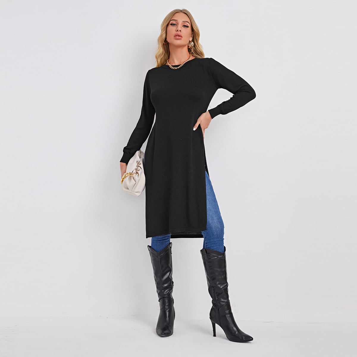 Split Hem Solid Longline Sweater