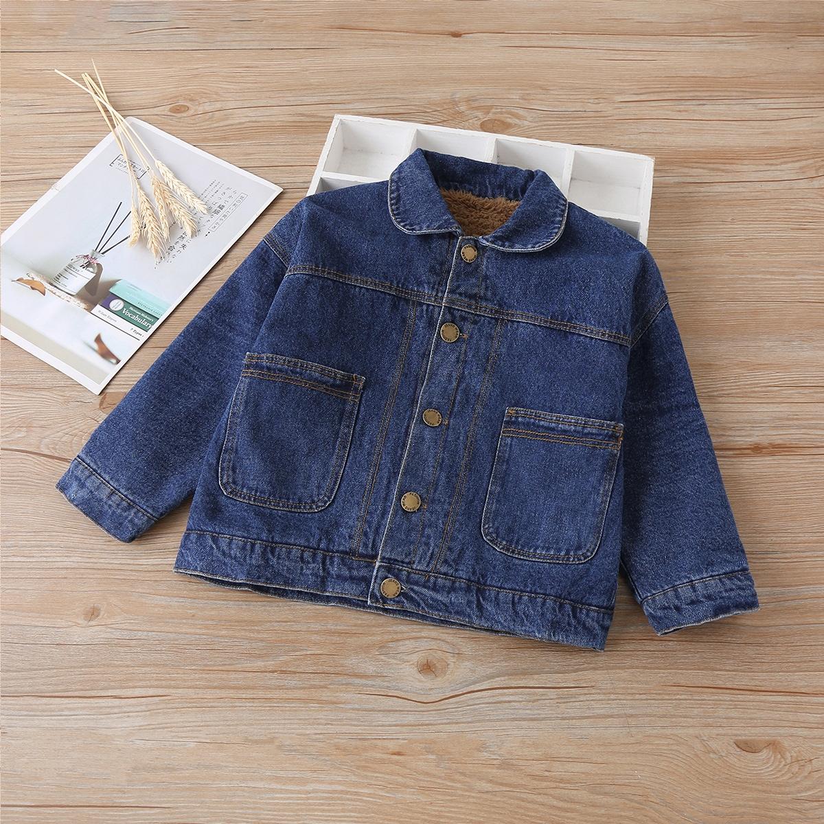 Однобортная джинсовая куртка на теплой подкладке для маленьких мальчиков