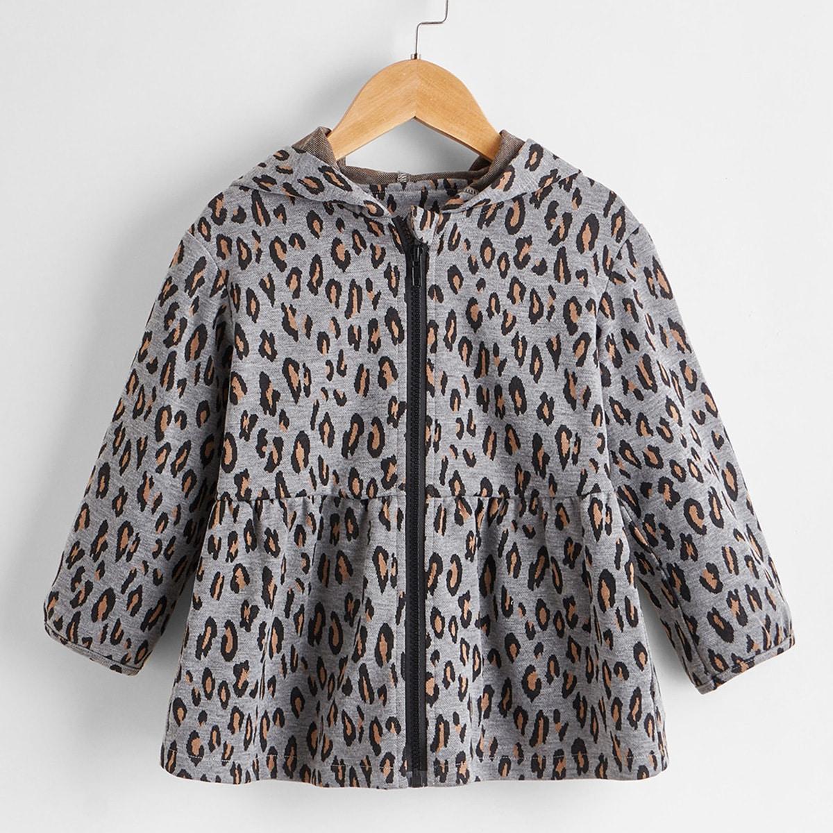 На молнии принт повседневный пальто для маленьких девочек