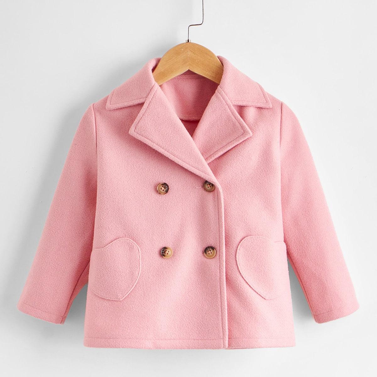 Двойная пуговица одноцветный повседневный пальто для маленьких девочек