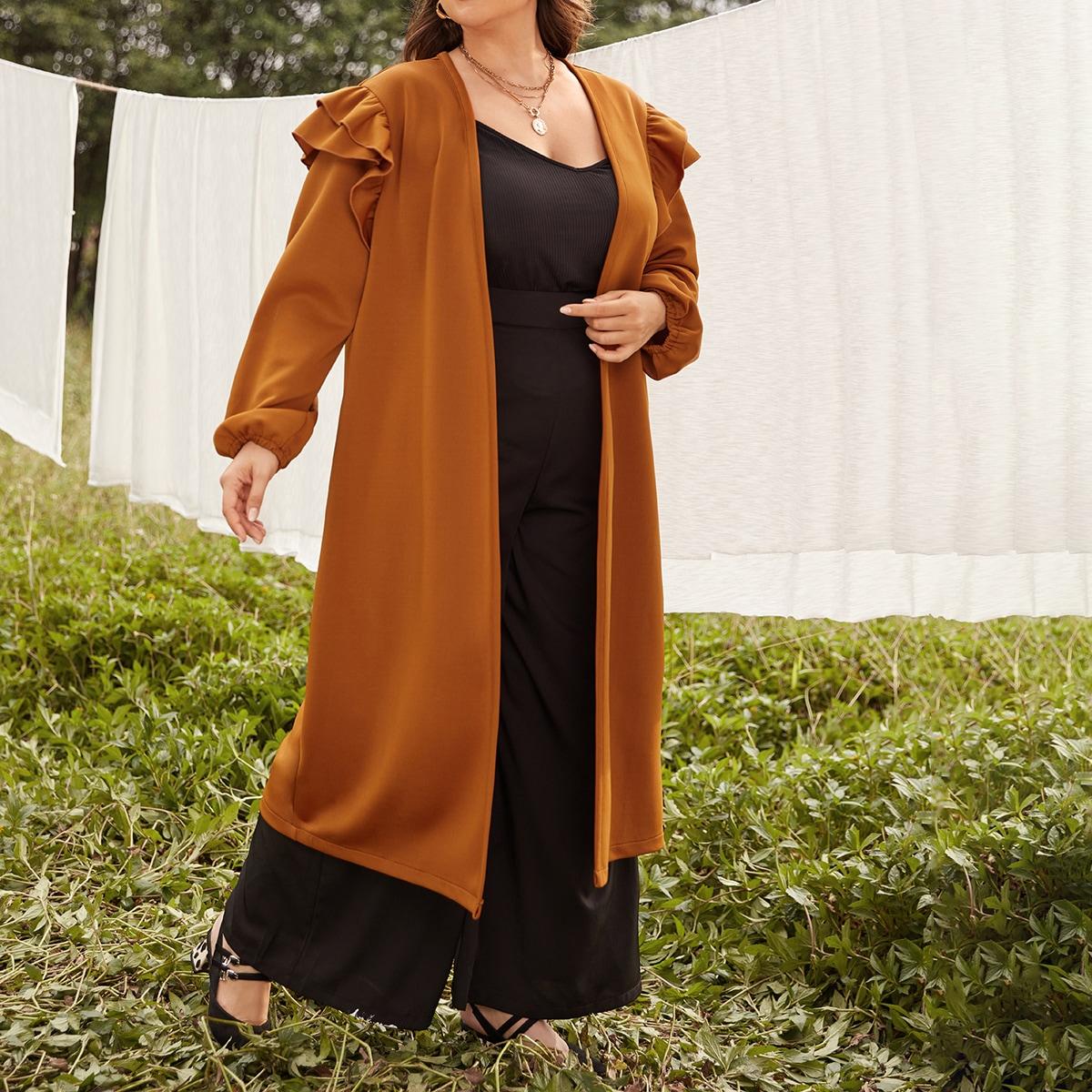 С оборками одноцветный кимоно размер плюс